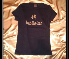 Women T-Shirt Buddha Bar black-gold print, size XS/S,M/L